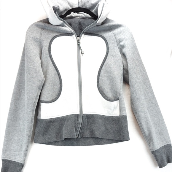 Lululemon grey and white scuba hoodie size 6